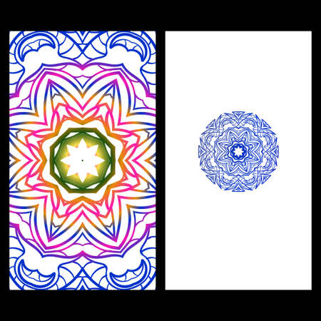 Yoga card template with mandala pattern. For business card, fitness center, meditation class. Vector illustration Illustration