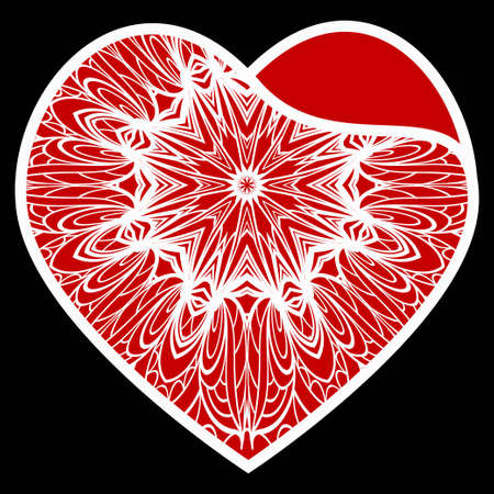 Openwork Heart With Flowers. Happy Valentines Day Holiday Decorative Elements. Vector Illustration