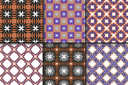 Vector illustration. set of pattern with geometric ornament, decorative border. design for print fabric. paper for scrapbook Illusztráció