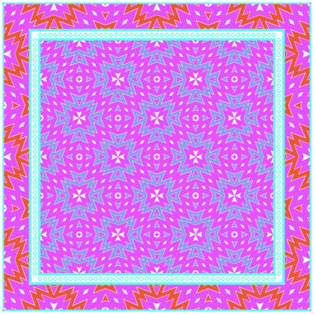 Beautiful Geometric Colorful Ornament. For Print On Fabric, Papper, Silk Neck Scarf, Kerchief Design, Scrapbook