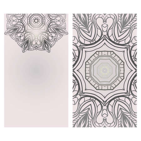 Visit Card template with floral mandala pattern. Vector template. Islam, Arabic, Indian, Mexican ottoman motifs. Hand drawn background Иллюстрация
