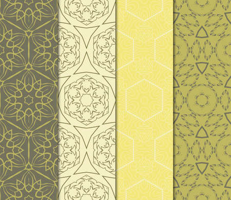 Vertical Seamless Patterns Set, Abstract Floral Geometric Texture. Ornament For Interior Design, Greeting Cards, Birthday Or Wedding Invitations, Paper Print. Ethnic Illustration