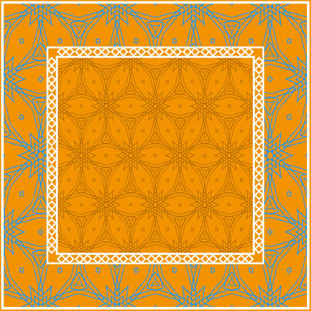 Decorative Geometric ornament with decorative border. Repeating sample figure and line. For modern interiors design, wallpaper, textile industry.