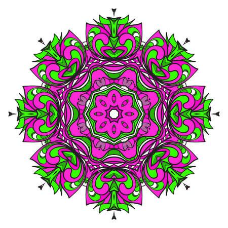 Motif de mandala. Illustration vectorielle. Mandala de couleur florale décorative moderne. Ornement décoratif Cicle. Art floral