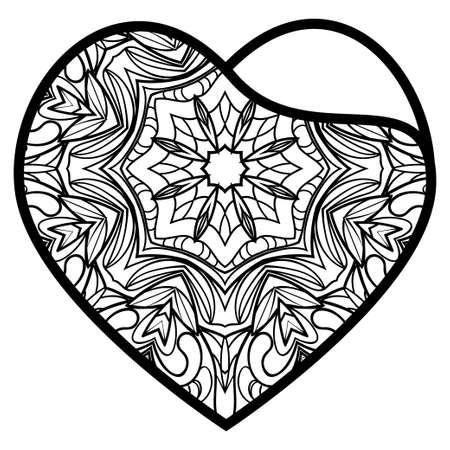 Valentine Heart With Floral Pattern. Vector Illustration. Template For Greeting Cards, Envelopes, Invitations