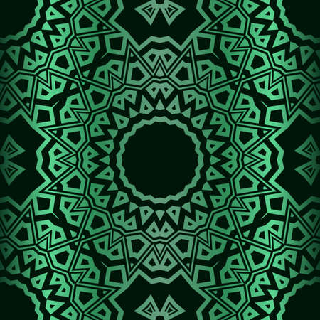 Template Print For Fabric. Pattern Of Floral Mandala Ornament With Border. Illustration. Seamless. For Print Bandana, Shawl, Carpet.