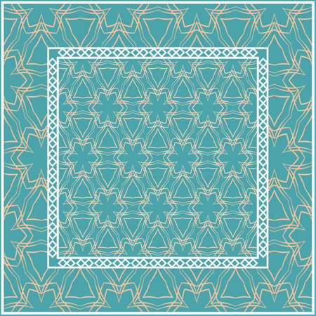 Design for square fashion print. For pocket, shawl, textile, bandanna. Geometric floral pattern. Vector illustration. Vectores