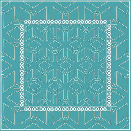 Design for square fashion print. For pocket, shawl, textile, bandanna. Geometric floral pattern. Vector illustration.
