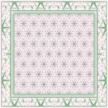 Geometric Ornament With Frame, Border. Art-Deco Background. Bandanna, Shawl, Scarf, Tablecloth Design. Stock Illustratie
