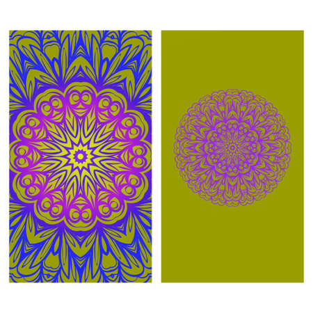 Invitation Or Card Template With Floral Mandala Pattern. Decorative Background For Wedding, Greeting Cards, Birthday Invitation