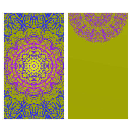 Floral Banners. Ethnic Mandala Ornament. Vector Illustration. For Greeting Card, Coloring Book, Invitation Print.