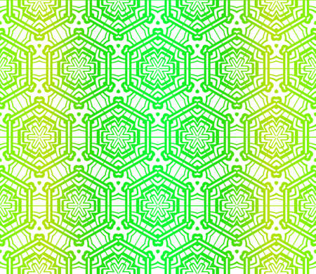 Art Deco Pattern Of Geometric Elements. Seamless Pattern. Vector Illustration. Design For Printing, Presentation, Textile Industry. Glowing Color Vettoriali