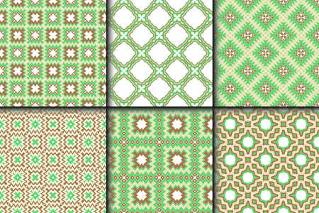 Set of Bright and Colorful Backgrounds or Digital Papers. Backdrop. Vector illustration. For design, wallpaper, fashion, print. seamless pattern with abstract geometric style. Illustration