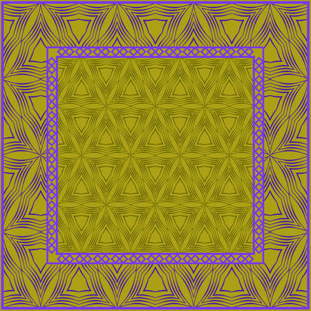 Design print. The pattern of geometric ornament. Vector illustration. The idea for design prints for neck scarves, carpets, bandanas. DARK GREEN and purple COLOR.
