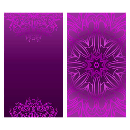 Set of Design Vintage Cards With Floral Mandala Pattern And Ornaments. Vector Template. Purple color. Islam, Arabic, Indian, Mexican Ottoman Motifs. Hand Drawn Background