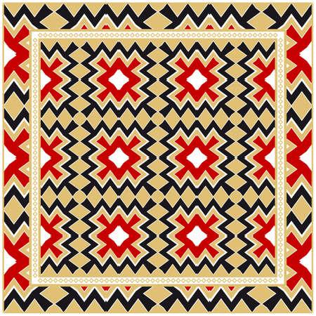 Vintage Decorative Geometric Pattern. Design For Bandana Shawl, Tablecloth Fabric Print. Vector Illustration
