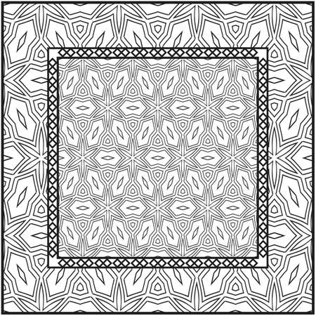 Background, geometric pattern with ornate lace frame. illustration. for Scarf Print, Fabric, Covers, Scrapbooking, Bandana, Pareo, Shawl. Black and white color.