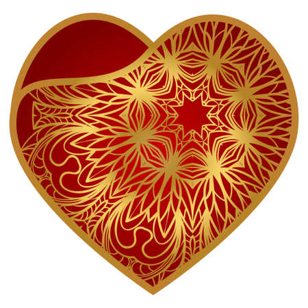 Template Openwork Heart For Laser Cutting. For Plotter Cutting Or Printing, Wood, Metal. Vector Illustration.