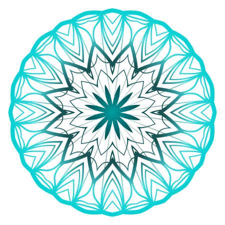 Mandala. for design, greeting card, invitation, coloring book. Arabic, Indian, motifs. Vector illustration. Blue gradient color Vettoriali