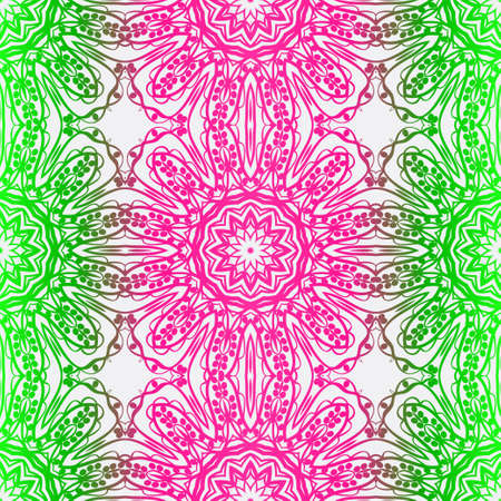 Design With Floral Pattern With Decorative Element. Vector Illustration. Template Design For Card, Shawl, Interior, Fashion Print
