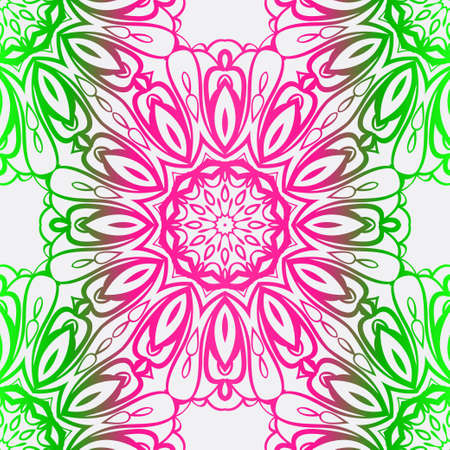 Floral Seamless Pattern With Hand-Drawing Ornament. Illustration. Design For Prints, Textile, Decor, Fabric. Vector Pattern. Neon Color.