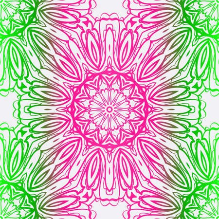 Decorative Colorful Ornament With Round Mandala Decoration. Symmetric Seamless Pattern . For Print Bandanna, Shawl, Tablecloth, Fabric Fashion, Scarf, Design.