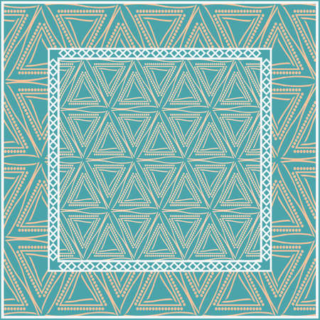Design for square fashion print. For pocket, shawl, textile, bandanna. Geometric floral pattern. Vector illustration.