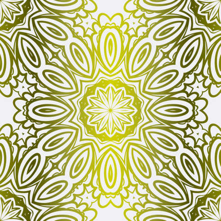Gold color seamless Floral Ornament. Symmetric Pattern . For Print Bandanna, Tablecloth, Fabric Fashion. Vector illustration