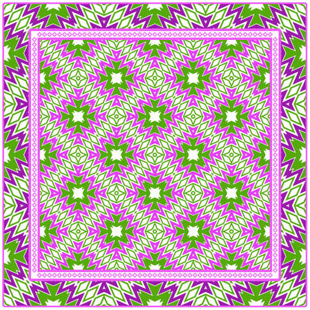 Beautiful Geometric Colorful Ornament. For Print On Fabric, Papper, Silk Neck Scarf, Kerchief Design, Scrapbook Vetores