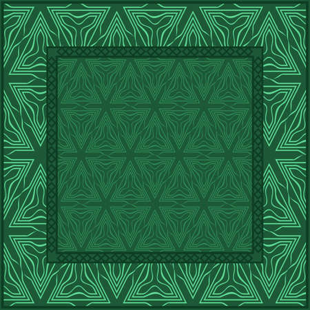 Design For Square Fashion Print. For Pocket, Shawl, Textile, Bandanna. Mandala Floral Pattern. Vector Illustration