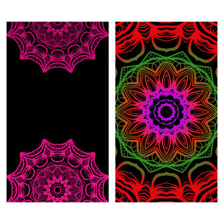 Relax cards with mandala formed flowers, boho style, vector illustration. For wedding, bridal, Valentine's day, greeting card invitation.