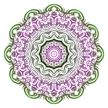 Green, purple color Anti-stress therapy pattern. Mandala. For design backgrounds. Vector illustration