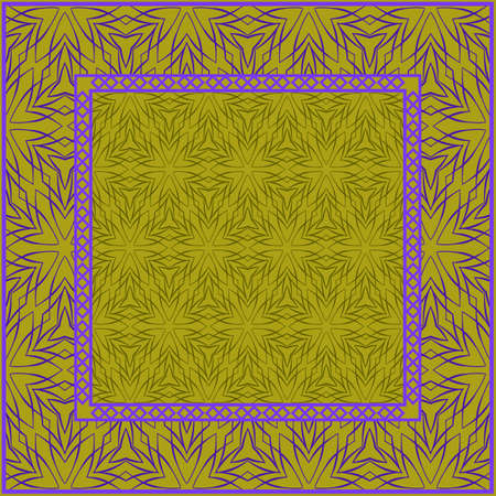 Design print. The pattern of geometric ornament. Vector illustration. The idea for design prints for neck scarves, carpets, bandanas. DARK GREEN and purple COLOR. Vectores