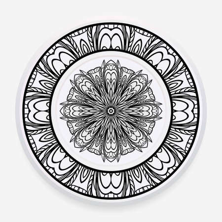 Decorative plate with round mandala ornament. Abstract floral pattern in ethnic style. Vector illustration. 일러스트