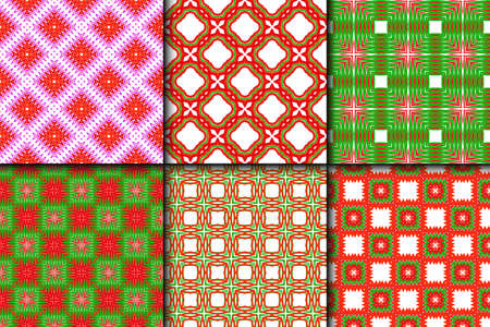 Set of Bright And Colorful Backgrounds Or Digital Papers. Backdrop. Vector Illustration. For Design, Wallpaper, Fashion, Print. Seamless Pattern With Abstract Geometric Style. Red, green color.