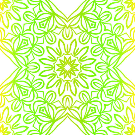 Green color seamless floral lace ornament. Vector illustration. Design for layout, page, background. Çizim