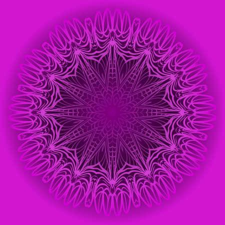 Purple color Ornamental arabic pattern with mandala. Vector illustration. Invitation, wedding card, national design. Tribal ethnic fashion design for paper, textile print.