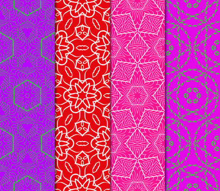 Set Of 4 Geometric Pattern, Floral Lace Geometric Ornament. Ethnic Beautiful Ornament. Vector Illustration. For Greeting Cards, Invitations, Cover Book, Fabric, Scrapbooks. Illustration