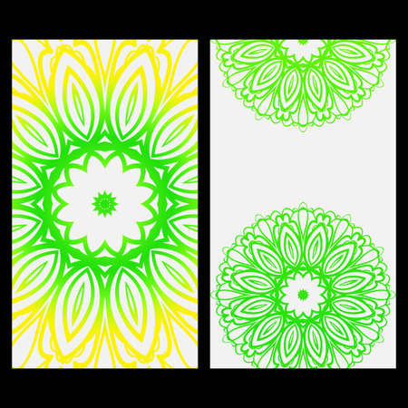 Ornament Illustration With Mandala for flyer. Vector Decorative Layout Design. Yellow, green color