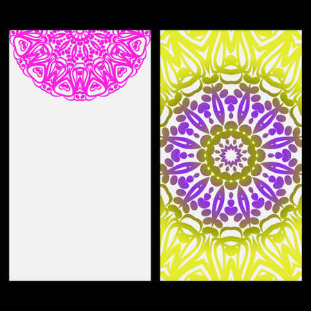 Invitation or Card template with floral mandala pattern. For Wedding, greeting cards, Birthday Invitation. The front and rear side. Vector illustration. Vetores