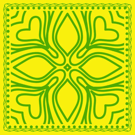 Decorative green color ornament on yellow background. Symmetric pattern with floral mandala. For Bandana, fabric print