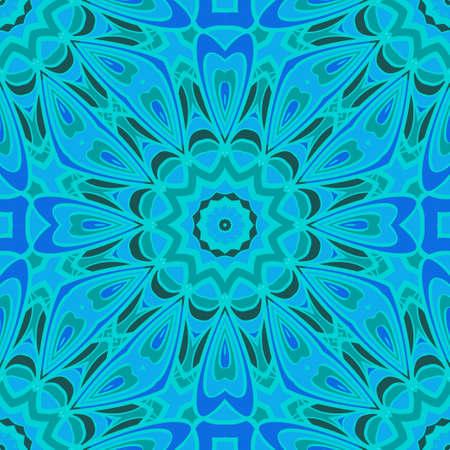 Blue color seamless floral pattern. Vector illustration. For design, fashion print.