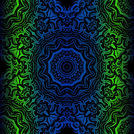Mandala Seamless Floral Pattern. Design For Square Fashion Print. Vector Illustration. Blue, green color Vectores