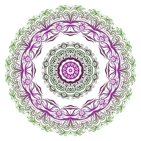 Purple, green gradient color Ornamental arabic pattern with mandala. Vector illustration. Invitation, wedding card, national design. Tribal ethnic fashion design for paper, textile print.