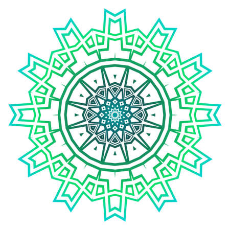 Green color Mandala, tribal ethnic ornament. Vector illustration. Islamic arabic indian pattern. For fashion print.