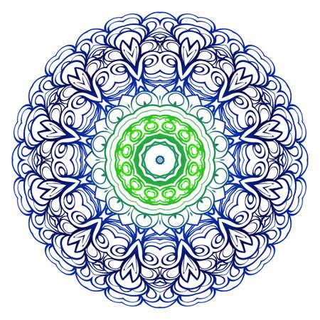 Flower blue, green coloring Mandala. decorative elements. Oriental pattern, vector illustration. Indian, moroccan, mystic, ottoman motifs
