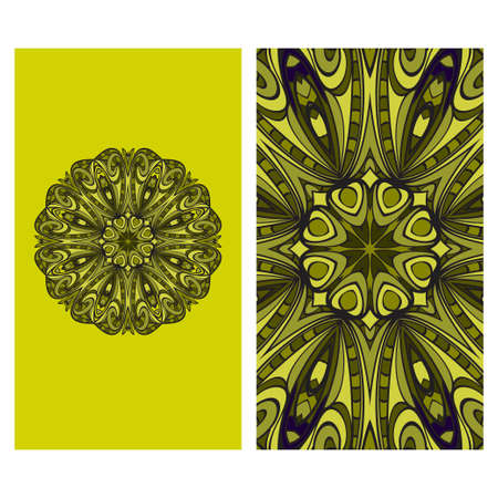 Visit Card Template With Floral Mandala Pattern. Vector Template. Islam, Arabic, Indian, Mexican Ottoman Motifs. Hand Drawn Background. Green, purple color. Ilustração