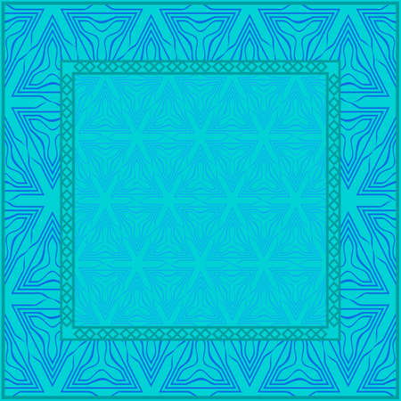 Blue color Design Of A Geometric Pattern . Vector Illustration. For Print Bandana, Shawl, Carpet, Tablecloth, Bed Cloth, Fashion.