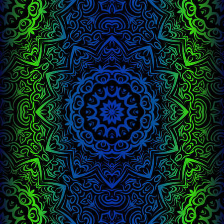 Mandala Seamless Floral Pattern. Design For Square Fashion Print. Vector Illustration. Blue, green color