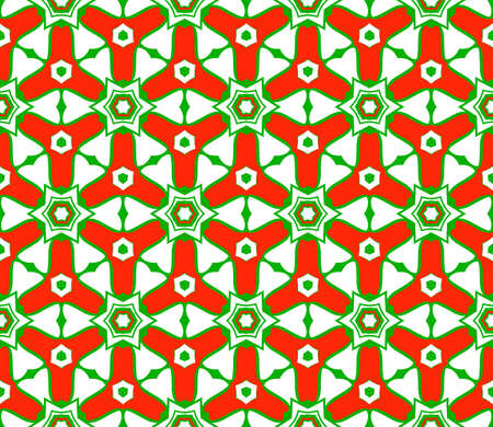 Green, red color Vector Seamless Pattern With Abstract Geometric Style. Repeating Sample Figure And Line. For Fashion Interiors Design, Wallpaper, Textile Industry.